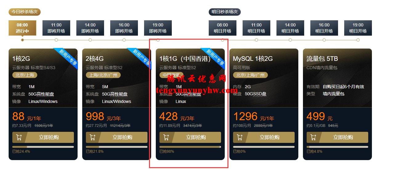 腾讯云香港VPS双11优惠